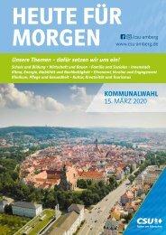 CSU Amberg Themenbroschüre zur Kommunalwahl 2020