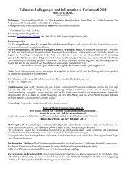 Teilnahmebedingungen und Informationen Ferienspaß 2012