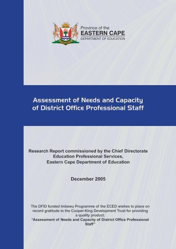 Assessment of Needs and Capacity of District Office Professional Staff