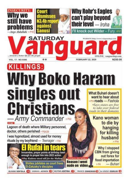22022020 - KILLINGS : Why Boko Haram singles out Christians