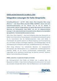 Integrative Lösungen für hohe Ansprüche - Engel Austria