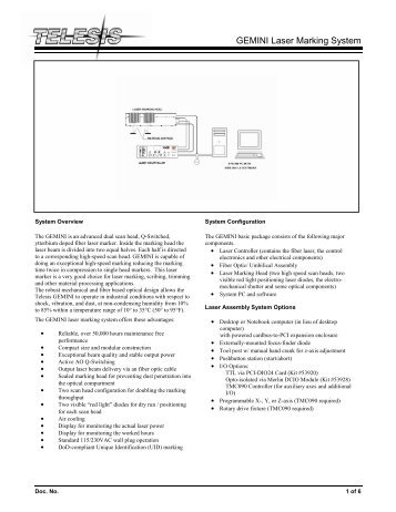 GEMINI Laser Marking System - Telesis Technologies, Inc.