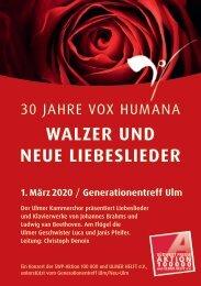 """Programmheft """"Brahms, Walzer und neue Liebeslieder"""" 30 Jahre Kammerchor Vox Humana"""