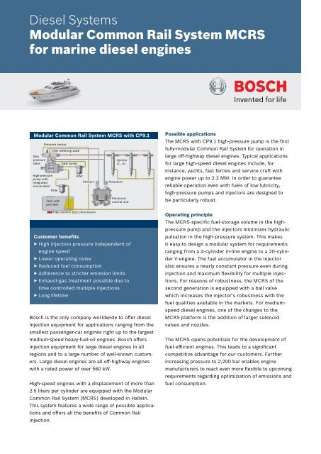 Modular Common Rail System MCRS for marine diesel engines