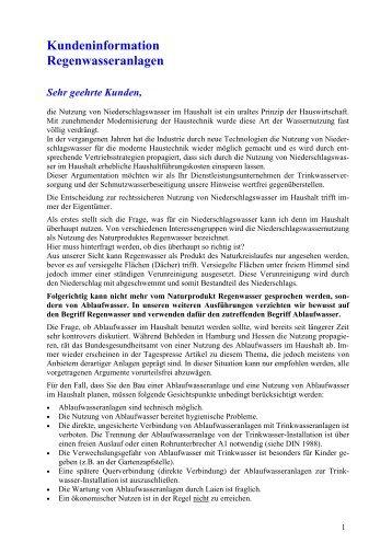 Kundeninformation Regenwasseranlagen - Heidewasser GmbH