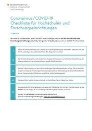 Coronavirus / COVID -19 Checkliste für Hochschulen und Forschungseinrichtungen Szenario