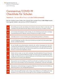 Coronavirus / COVID -19 Checkliste für Schulen Szenario A – Die betroffene Person ist in der Schule anwesend