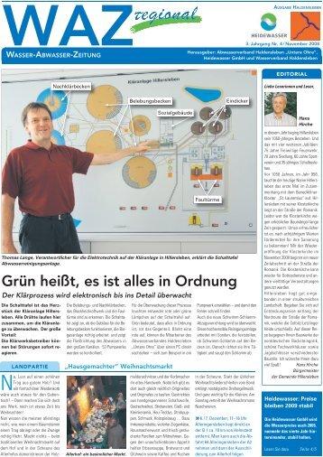 Grün heißt, es ist alles in Ordnung - Heidewasser GmbH