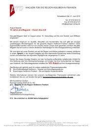 10 Jahre pro-Magazin - Wirtschaftsregion Heilbronn - Franken