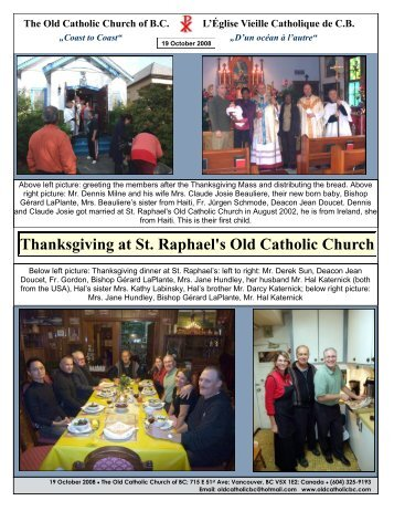 Thanksgiving at St. Raphael's Old Catholic Church - The Old ...