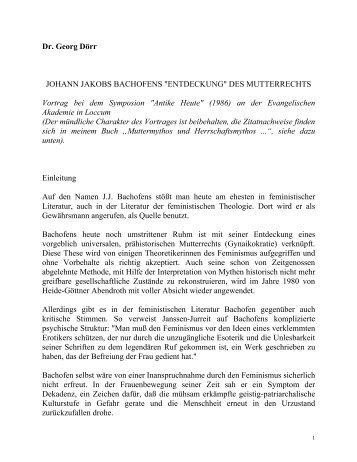 "Dr. Georg Doerr:  Johann Jakob Bachofens ""Entdeckung"" des Mutterrechts -- Vortrag"