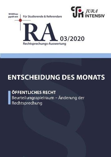 RA 03/2020 - Entscheidung des Monats