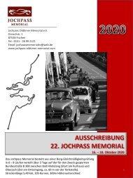 Ausschreibung Jochpass Oldtimer Memorial 2020