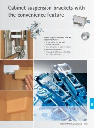 Cabinet suspension brackets with the convenience feature - Hettich