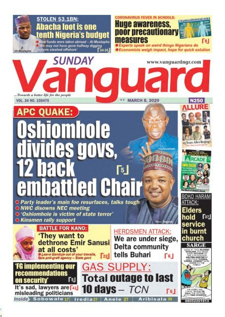 08032020 - Oshiomole divides govs, 12 back embattled Chair