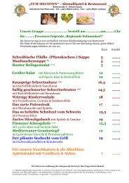 Hechten - Speisekarte für Gruppen - 2020 Deutsch