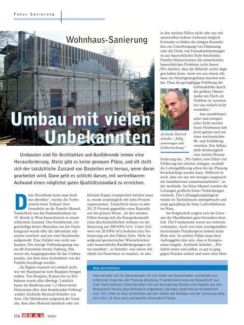 Umbau mit vielen Unbekannten Wohnhaus-Sanierung ... - ATOS