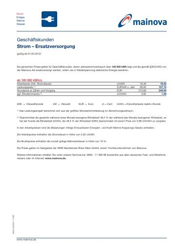 Strom-Ersatzversorgung - Mainova AG