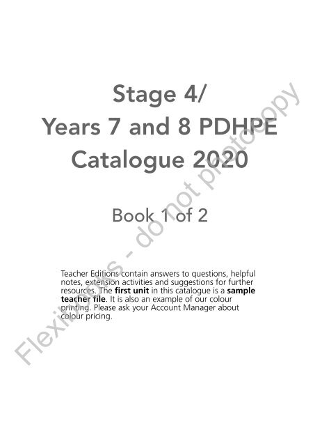 Stage 4 / Years 7 and 8 PDHPE Catalogue 2020 (Book 1 of 2)