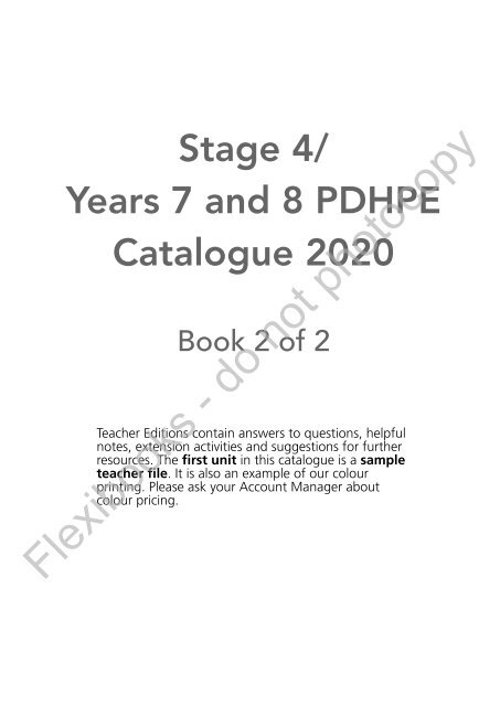 Stage 4 / Years 7 and 8 PDHPE Catalogue 2020 (Book 2 of 2)