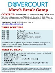 Dovercourt March Break 2020 newsletter