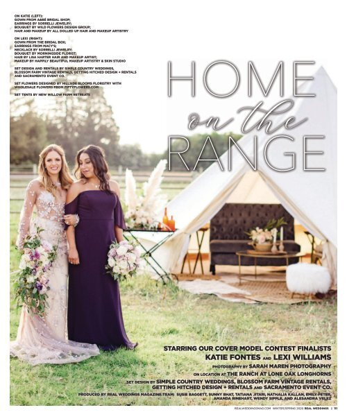Real Weddings Magazine S Home On The Range Cover Model Contest Shoot Winter Spring 2020 Featuring Some