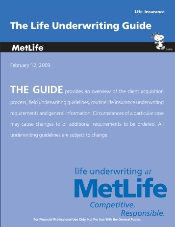 The Life Underwriting Guide - Pilot Insurance Center