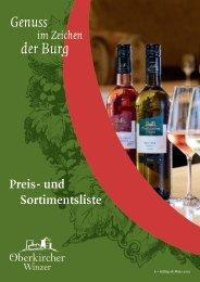 Sortiments- und Preisliste Oberkircher Winzer