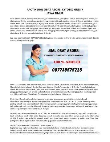 Klinik Jual Obat Aborsi Cytotec Gresik 087738575225 Jual Obat Penggugur Janin