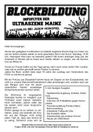 In der heutigen Ausgabe: - Spielberichte Augsburg ... - Szene Mainz