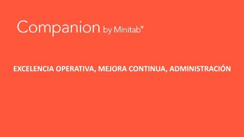 Companion by Minitab. Mejores proyectos de Mejora Continua
