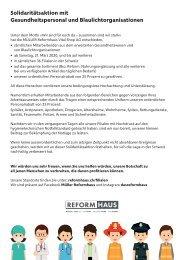 Solidaritätsaktion mit Gesundheitspersonal und Blaulichtorganisationen
