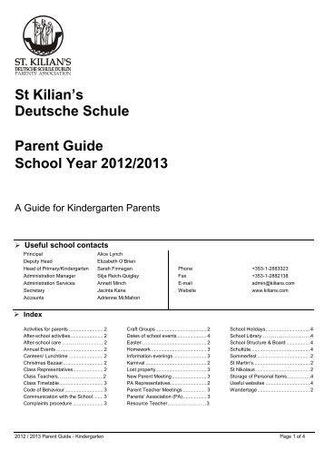 St Kilian's Deutsche Schule Parent Guide School Year 2012/2013