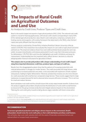 The Impacts of Rural Credit on Agricultural Outcomes and Land Use