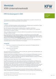 Merkblatt | KfW-Unternehmerkredit | KfW-Sonderprogramm 2020