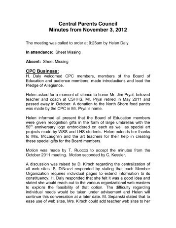 Central Parents Council Minutes from November 3, 2012
