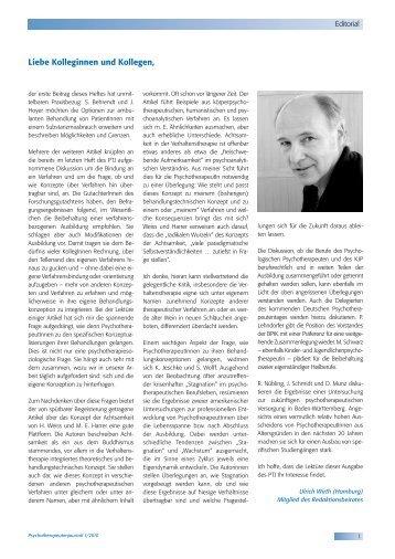 Sa. 12. Juni 2010, 9:00 - Psychotherapeutenjournal