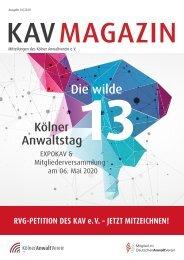 KAV MAGAZIN  | Ausgabe 01/2020