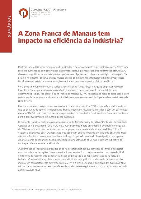 A Zona Franca de Manaus tem impacto na eficiência da indústria?