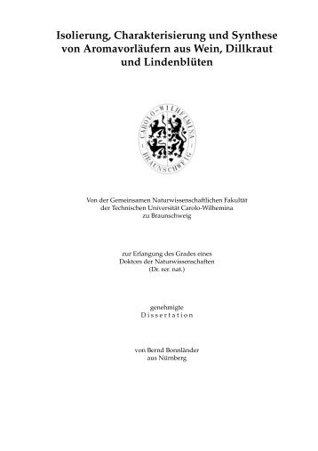 Isolierung, Charakterisierung und Synthese von Aromavorläufern ...
