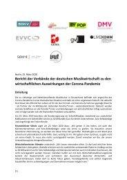 Bericht der Verbände der deutschen Musikwirtschaft zu den wirtschaftlichen Auswirkungen der Corona-Pandemie