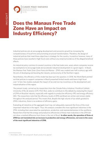 Does the Manaus Free Trade Zone Have an Impact on Industry Efficiency?