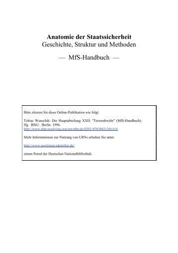 Anatomie der Staatssicherheit Geschichte, Struktur und ... - BStU