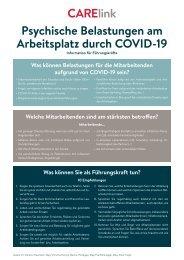 Psychische Belastungen am Arbeitsplatz durch COVID-19