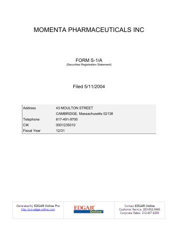 MOMENTA PHARMACEUTICALS INC - Shareholder.com