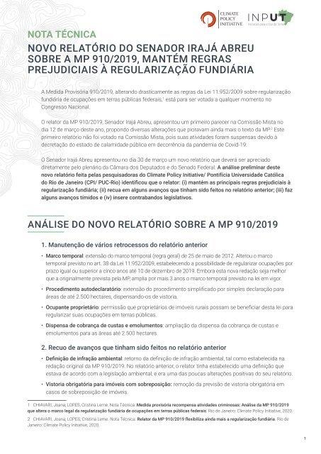 Novo relatório do senador Irajá Abreu sobre a MP 910/2019, mantém regras prejudiciais à regularização fundiária