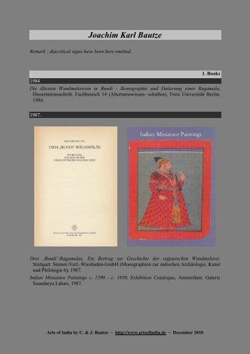 Joachim Karl Bautze - artsofindia.de