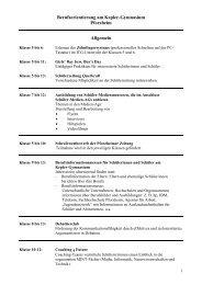 Berufsorientierung am Kepler-Gymnasium - Kepler-Gymnasiums