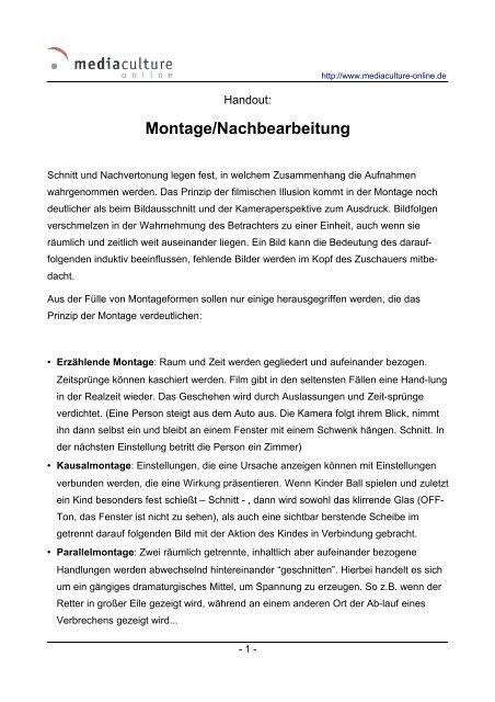 Montage/Nachbearbeitung - Mediaculture online