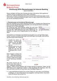 Umsetzung SEPA-Überweisungen im Internet-Banking